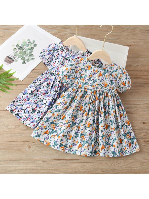 【18M-9Y】Girls Cotton Puff Sleeve Halter Dress