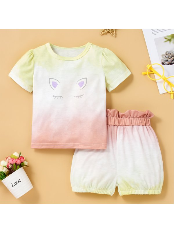 【6M-2.5Y】Children's Tie-dye Cartoon Print Short-sleeved Top And Shorts Suit