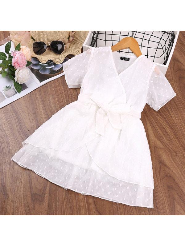 【3Y-11Y】Girl Sweet Short Sleeve Dress