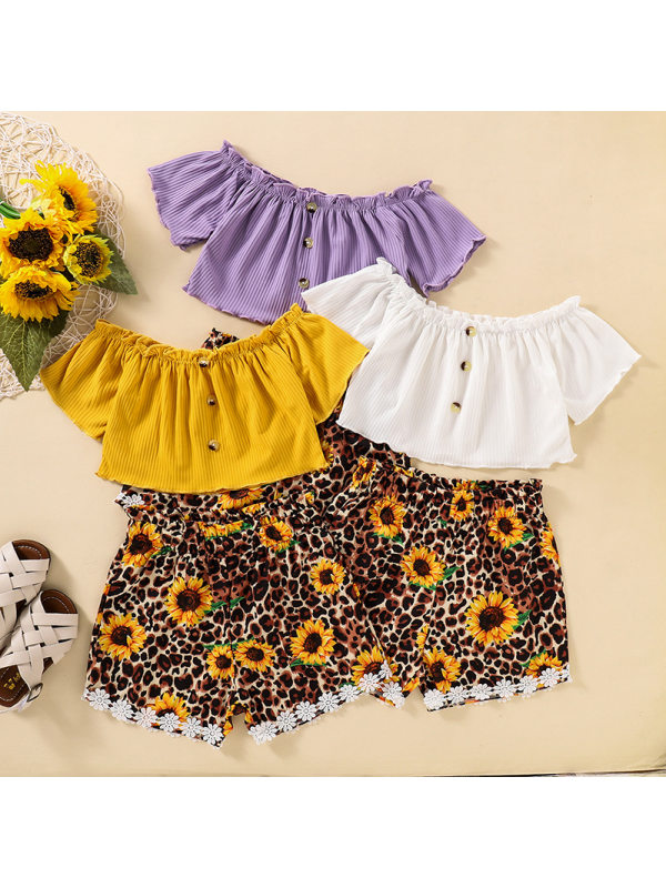 【18M-7Y】Girls' One-shoulder Short-sleeved Top With Sunflower Leopard Print Shorts Suit