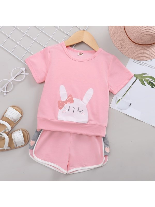 【18M-7Y】Girls Pink Bunny Short-sleeved Shorts Two-piece Set