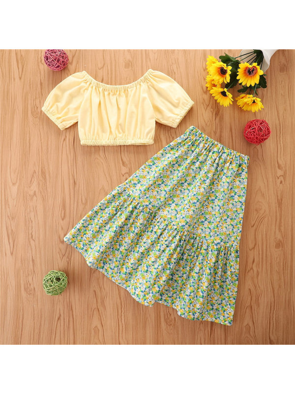 【18M-7Y】Girls' Sweet One-shoulder Top With Floral Skirt Suit