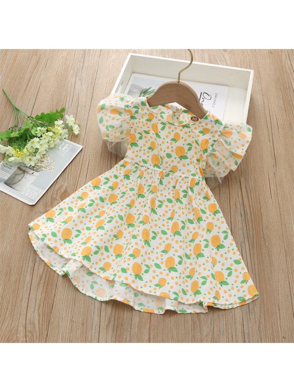 【12M-7Y】Girls Round Neck Fruit Print Dress