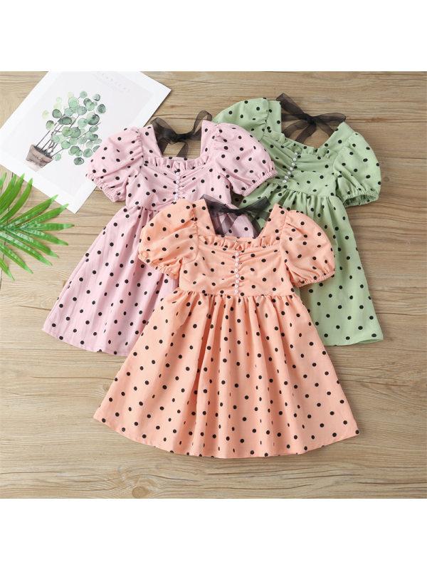 【18M-9Y】Girls Square Neck Puff Sleeve Polka Dot Dress