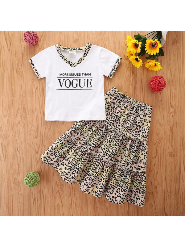 【18M-7Y】Children's Letter Short Sleeve T+Leopard Print Skirt Set