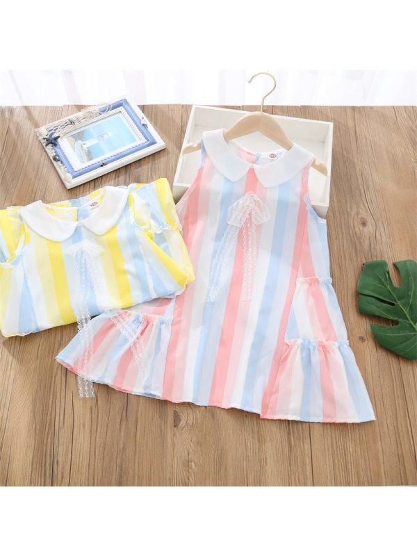 【3Y-13Y】Girls Doll Collar Sleeveless Color Striped Dress