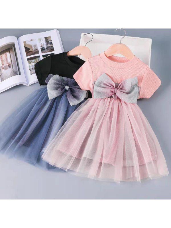 【12M-7Y】Girls' Net Yarn Stitching Princess Dress
