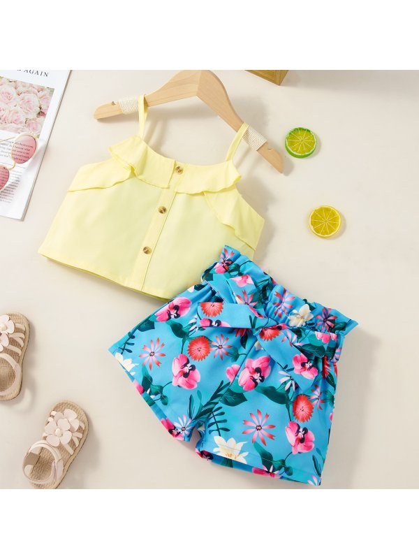 【18M-7Y】Girls' Lotus Leaf Neck Sling Top With Floral Shorts Suit