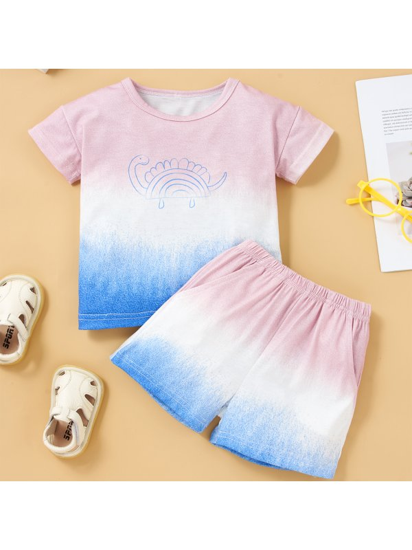 【6M-2.5Y】Children's Gradient Short-sleeved Top And Shorts Suit