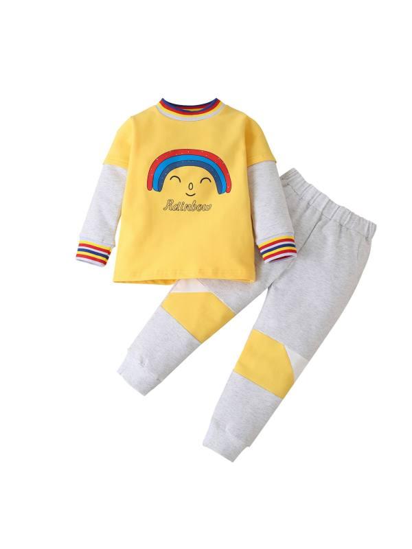 【18M-7Y】Kids Rainbow Print Long Sleeve Homewear