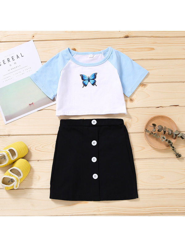 【2Y-9Y】Girls Butterfly Print Short-sleeved Top with Skirt Suit