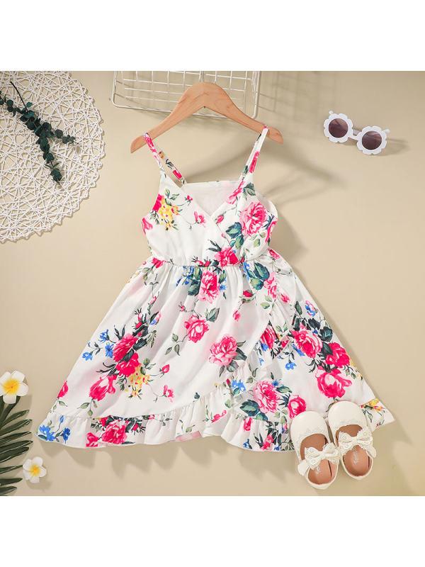 【18M-7Y】Girls Print Sleeveless Suspender Dress