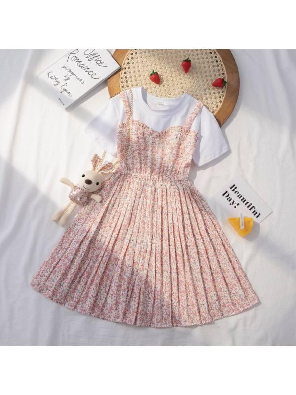 【3Y-13Y】Girls Round Neck Short Sleeve Floral Dress