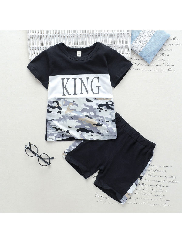 【18M-7Y】Boys Color Stitching Letter Print Short Sleeve Two-piece Suit