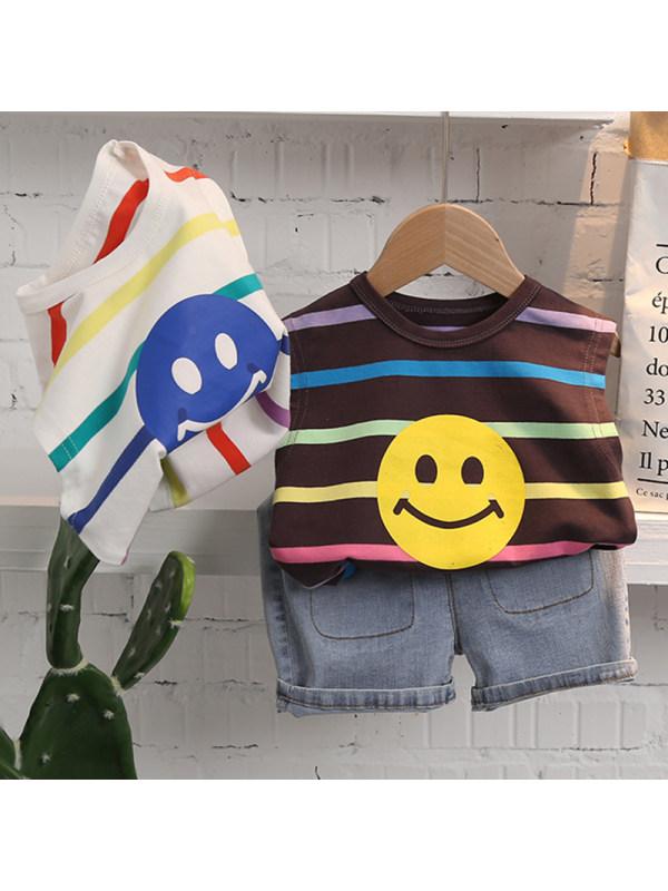 【12M-5Y】Boys Casual Striped Vest Denim Shorts Set