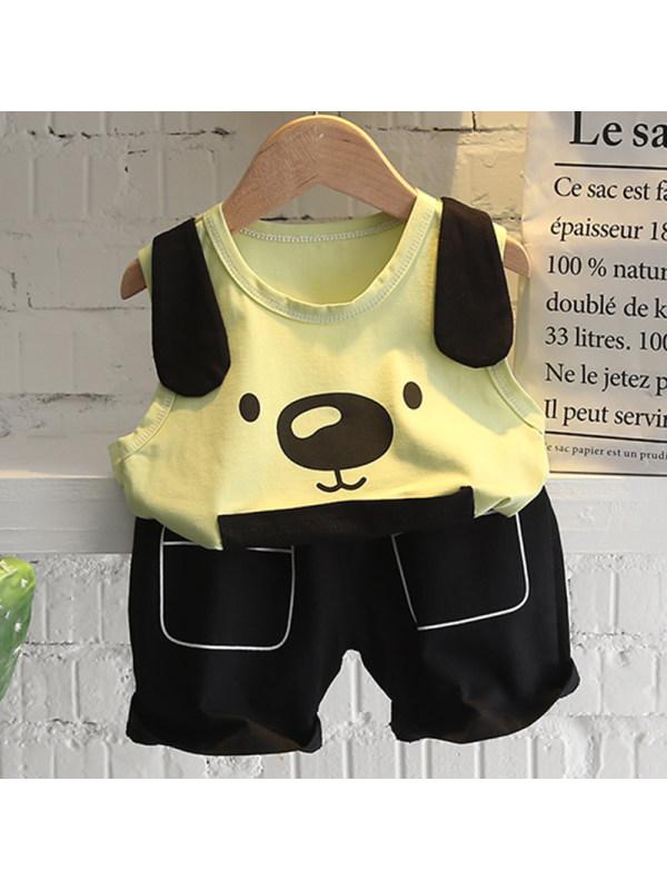 【12M-5Y】Boys Casual Cartoon Pattern Vest Shorts Set