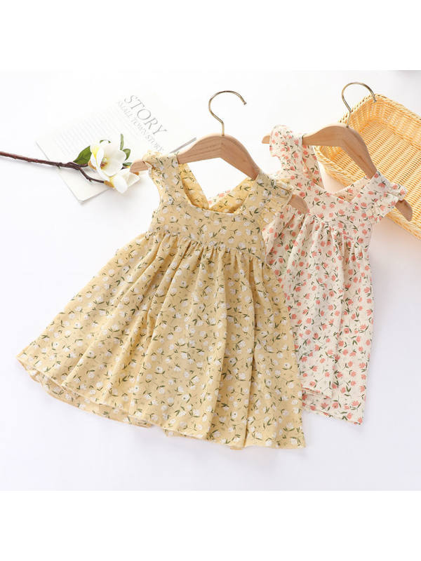 【18M-7Y】Girls' Small Floral Sleeveless Dress