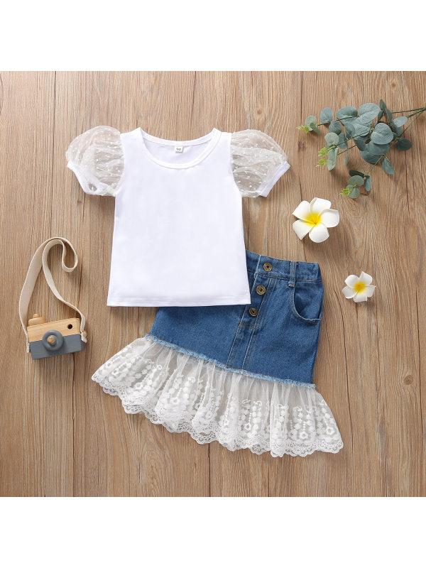 【18M-7Y】Girls' Mesh Puff Sleeve T-shirt Lace Denim Skirt Set