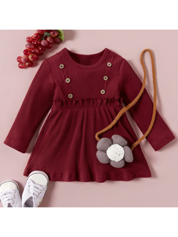 【6M-3Y】Cute Pure Color Round Neck Long Sleeve Dress