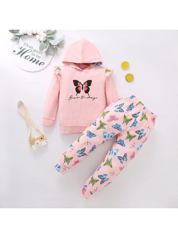 【18M-7Y】Girls Lace Hoodie Butterfly Pants Set