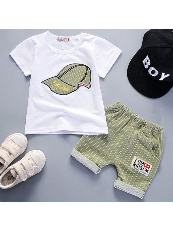【12M-4Y】Boys Casual Hat Pattern Short-sleeved T-shirt Shorts Set