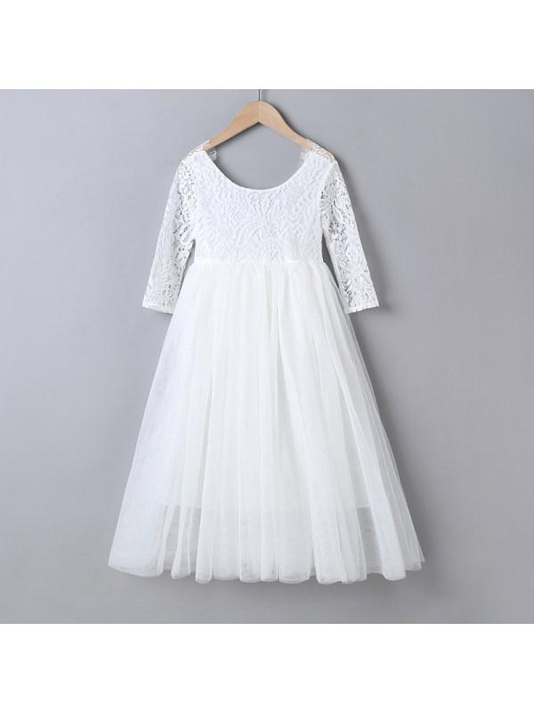 【3Y-11Y】Girls' Long Sleeve Round Neck Mesh Dress