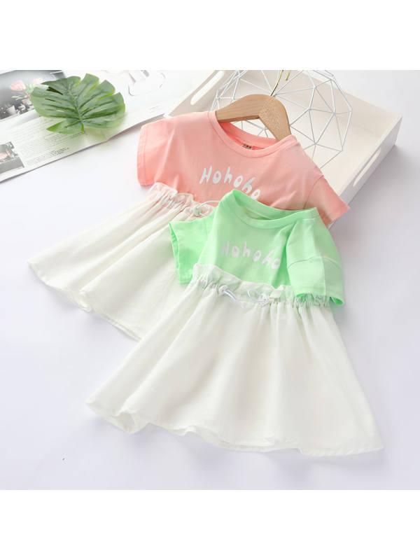 【12M-5Y】Girls' Letter Net Yarn Short Sleeve Dress