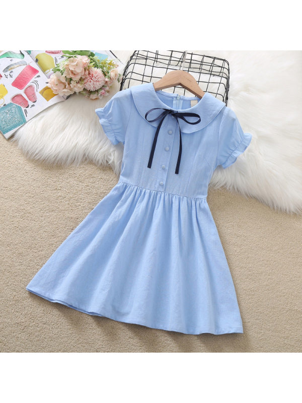 【3Y-13Y】Girls' College Style Thin Short-sleeved Dress