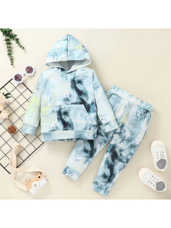 【12M-5Y】Girls' Hooded Pullover Tie-dye Sweatshirt And Trousers Suit
