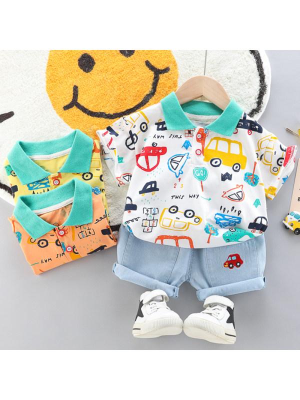 【12M-4Y】Boys Casual Cartoon Pattern Short-sleeved T-shirt Shorts Set