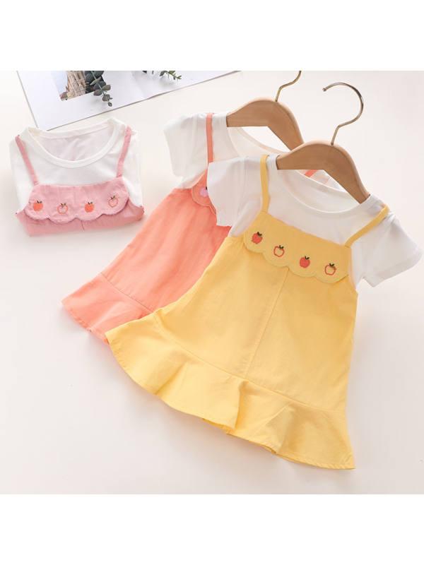 【18M-7Y】Girls Round Neck Fake Two-piece Suspender Dress