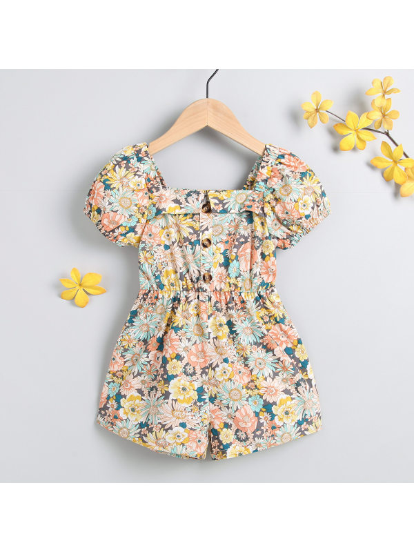 【18M-7Y】Girls Square Neck Puff Sleeve Button Sun Flower Five-point Jumpsuit