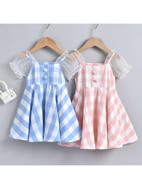 【18M-7Y】Girls Puff Sleeve Plaid Lace Dress