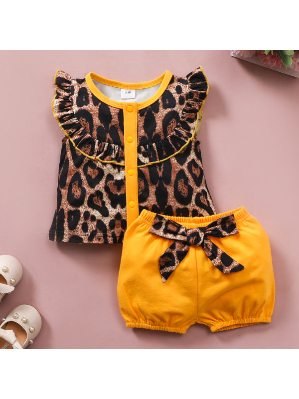 【0M-18M】Cute Leopard Top and Yellow Shorts Set