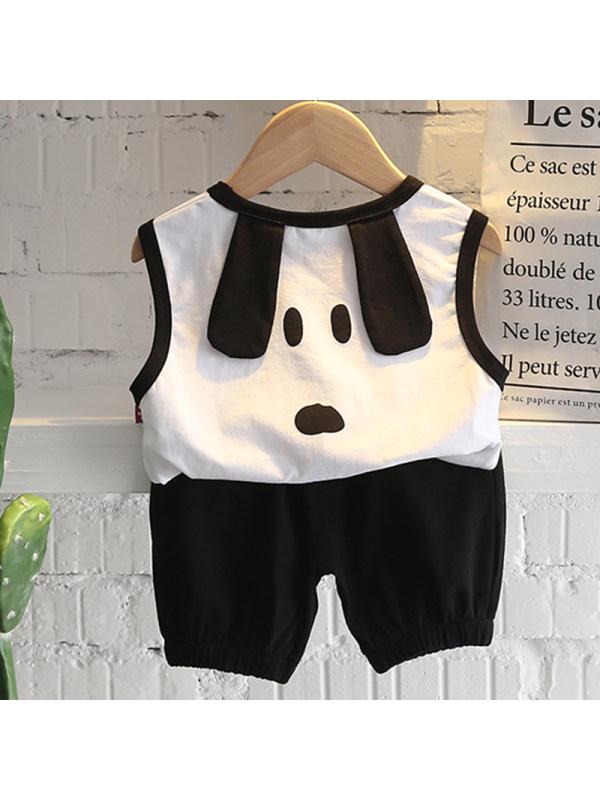 【12M-5Y】Boys Casual Puppy Pattern Vest Shorts Suit