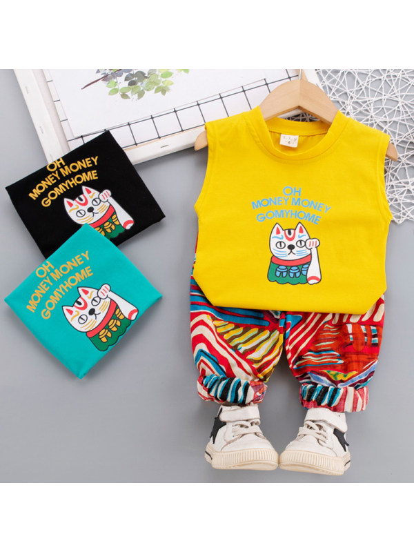 【12M-5Y】 Boys Casual Cartoon Pattern Vest Shorts Set