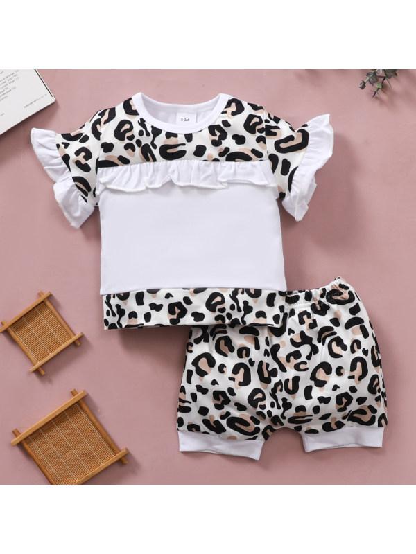 【0M-18M】Cute Leopard Print T-shirt and Shorts Set