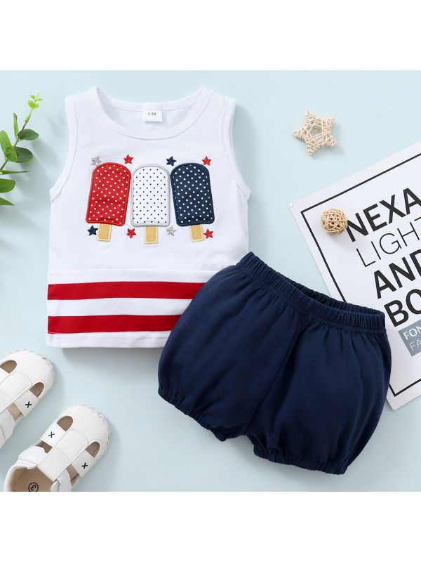 【0M-18M】Cute Ice Cream Embroidered Sleeveless Top and Shorts Set