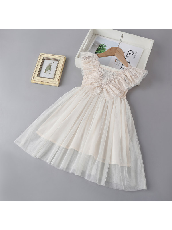 【18M-7Y】Girls Flying Sleeve Lace Mesh Dress