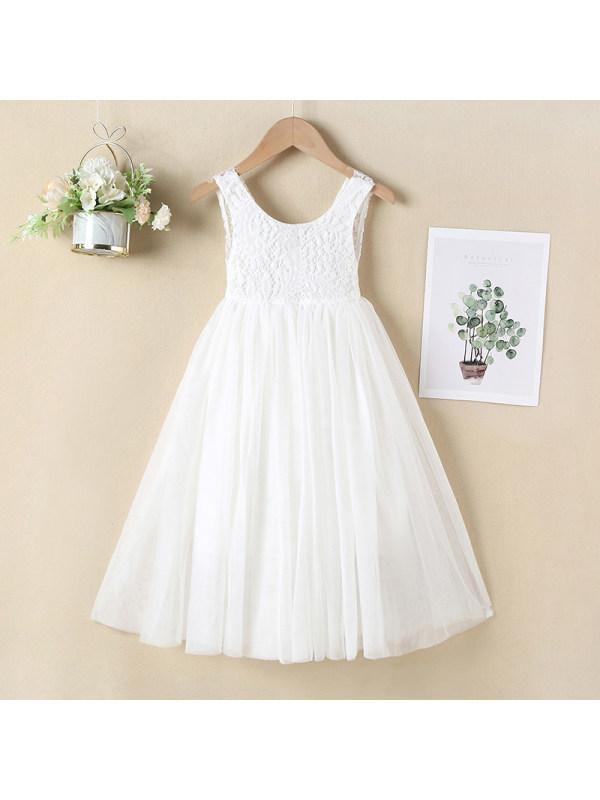 【18M-11Y】Girls Long Open Back Lace Dress