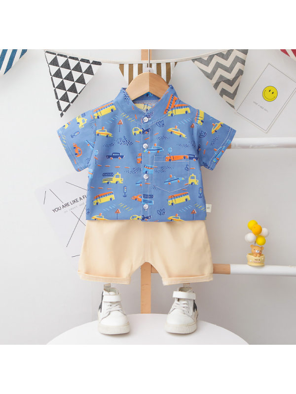【12M-5Y】Boys Short Sleeve Shirt And Shorts Two-piece Suit