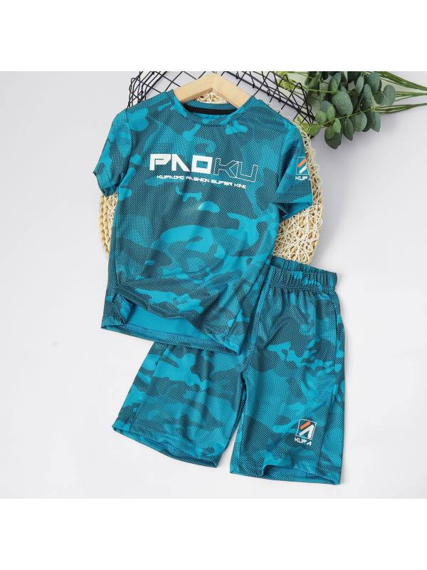 【3Y-13Y】Boy's Letter Printed Sports Breathable Short Sleeve Two-piece Suit