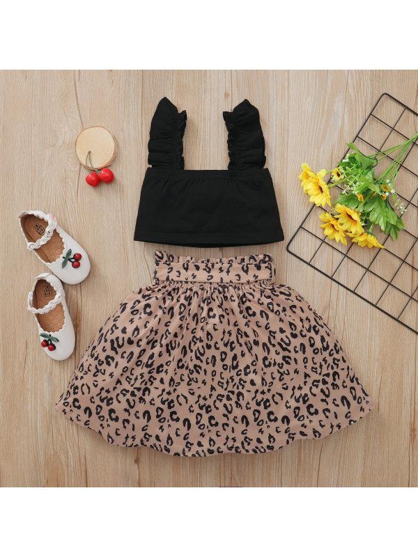 【18M-6Y】Girls Black Sling Top Leopard Print Skirt Two-piece Suit - 3480