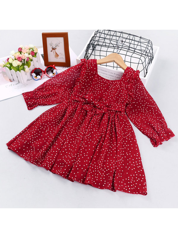 【18M-7Y】Girls Polka Dot Lace Long-sleeved Dress