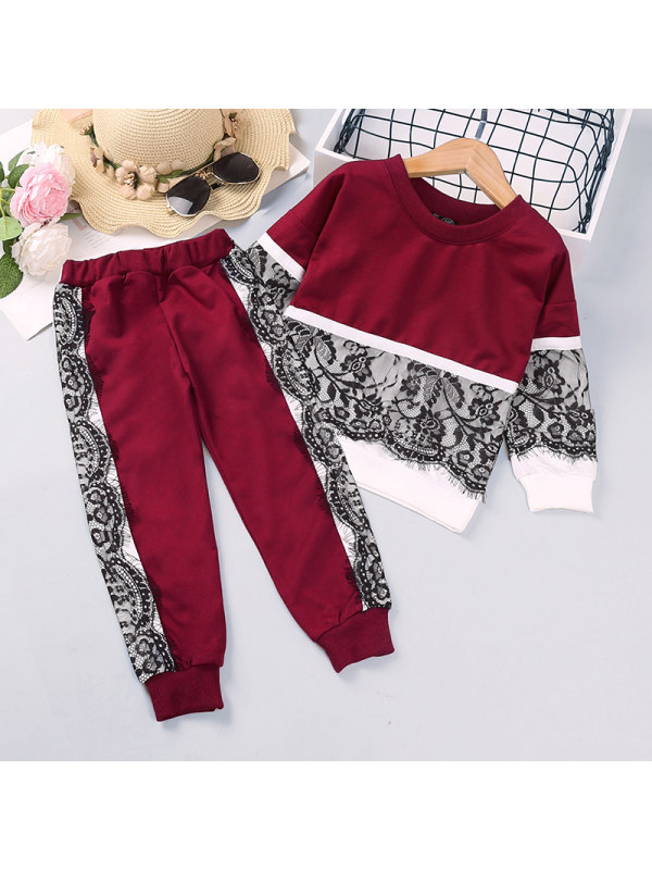 【2Y-9Y】Girls Lace Stitching Long-sleeved Trousers Pants Two-piece Suit