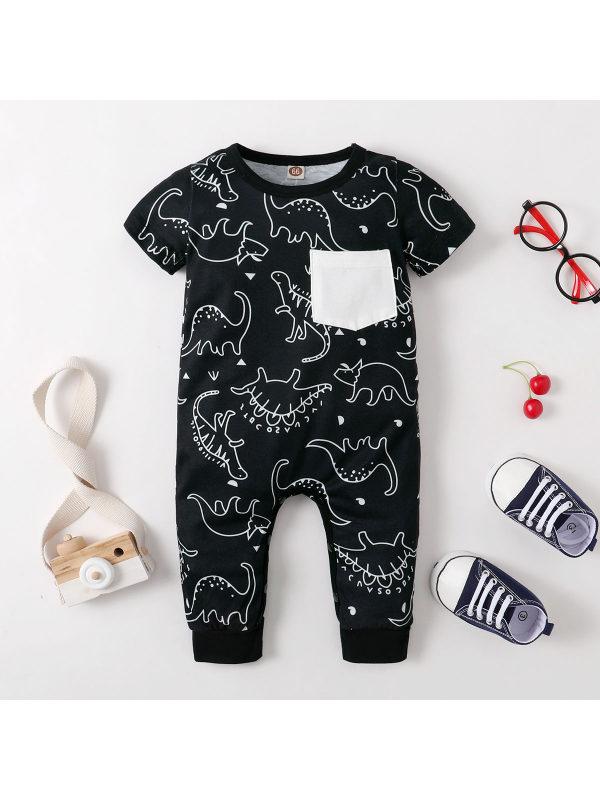 【3M-18M】Baby Dinosaur Print Short-sleeved Long-leg One-piece Romper