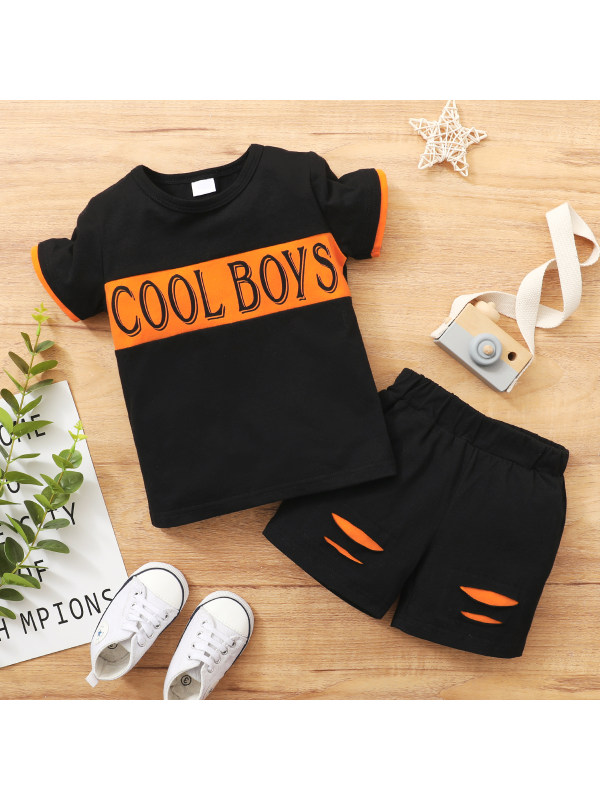 【6M-24M】Boy's Letter Print Contrast Stitching Short-breath T-shirt Shorts Two-piece Suit