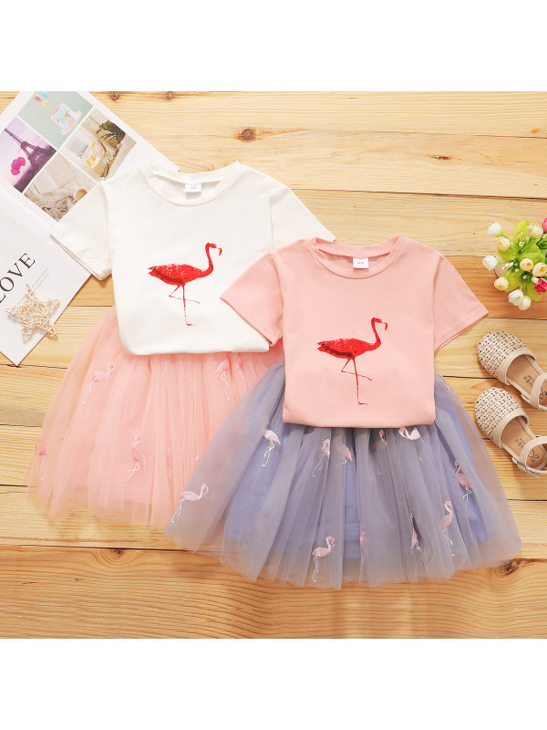 【2Y-6Y】Girls Flamingo Print Short-sleeved T-shirt Embroidered Mesh Skirt Two-piece Suit