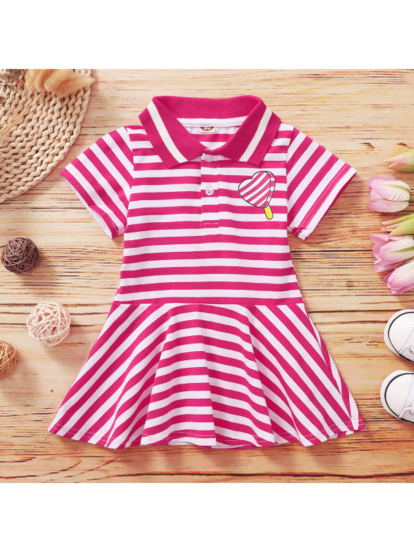 【18M-7Y】Girls Striped Lapel Short Sleeve Dress