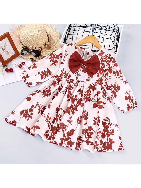 【12M-5Y】Girls Leaf Print Bow Long-sleeved Dress